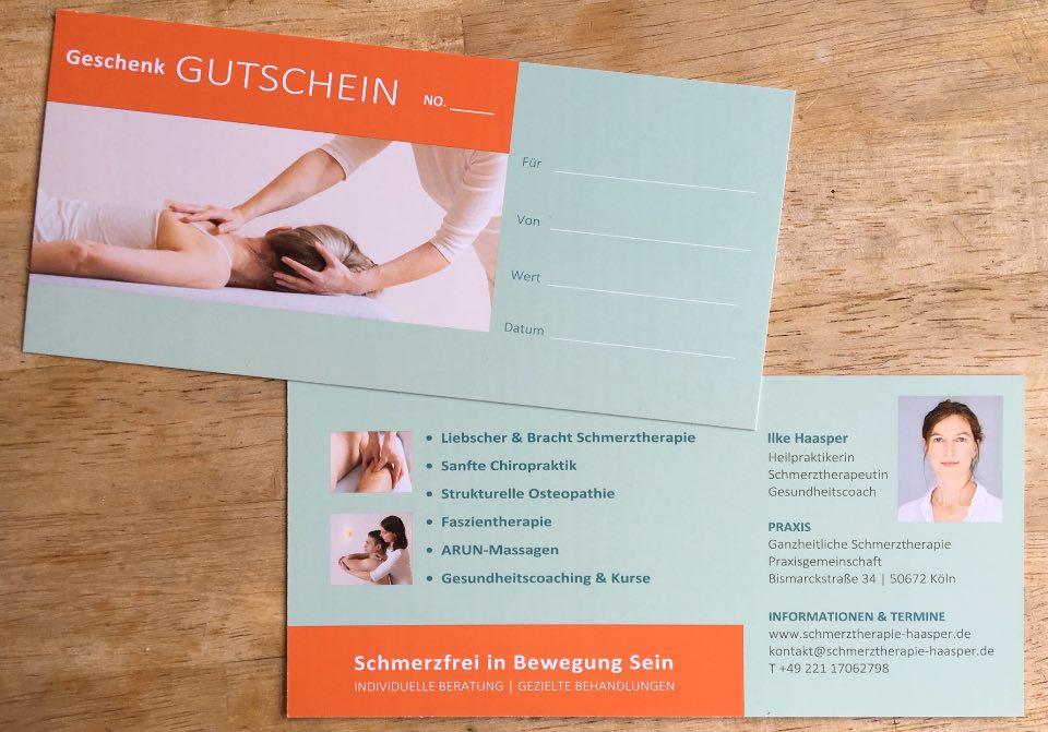 Geschenk Gutschein für die Behandlung von Schmerzen in Köln